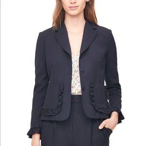 rebecca taylor / navy ruffle pockets blazer jacket